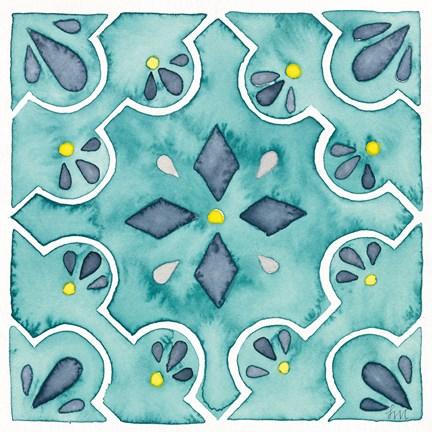 Framed Garden Getaway Tile II Teal Print