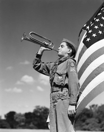 1950s Boy Scout In Uniform Standing In Front American Flag Art by Vintage  PI at FramedArt.com
