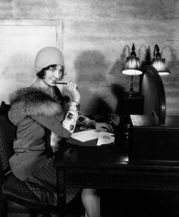 009ef21bbc9 1920s Woman With Pen To Lips Wearing Cloche Hat Art by Vintage PI at ...