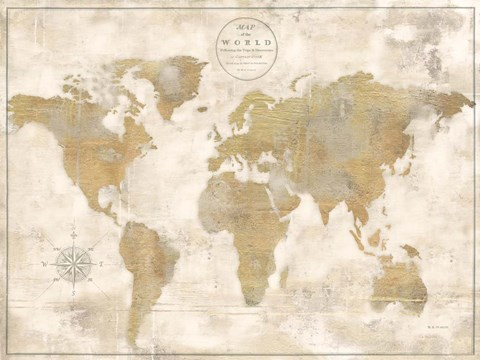 Rustic World Map Cream No Words Art by Marie-Elaine Cusson at ...