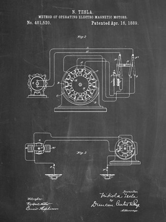 Framed Chalkboard Tesla Operating Electric Motors Map Patent Print