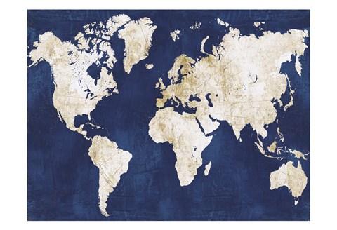 World map navy gold artwork by alicia vidal at framedart framed world map navy gold print gumiabroncs Gallery