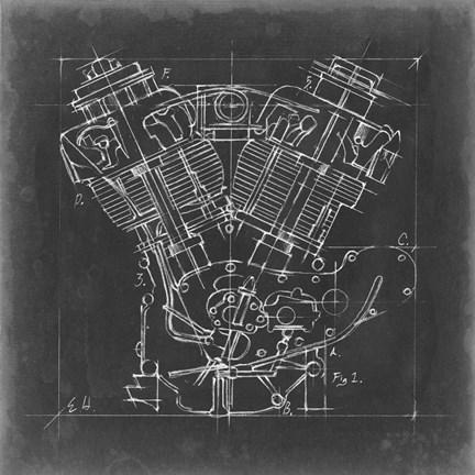 Motorcycle engine blueprint i art by ethan harper at framedart framed motorcycle engine blueprint i print malvernweather Gallery