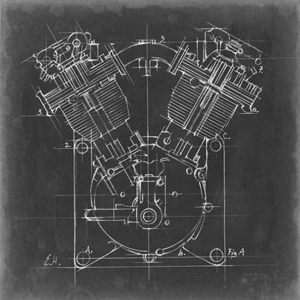 Motorcycle engine blueprint ii art by ethan harper at framedart framed motorcycle engine blueprint ii print malvernweather Images
