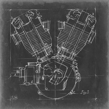 Motorcycle engine blueprint iii art by ethan harper at framedart framed motorcycle engine blueprint iii print malvernweather Gallery