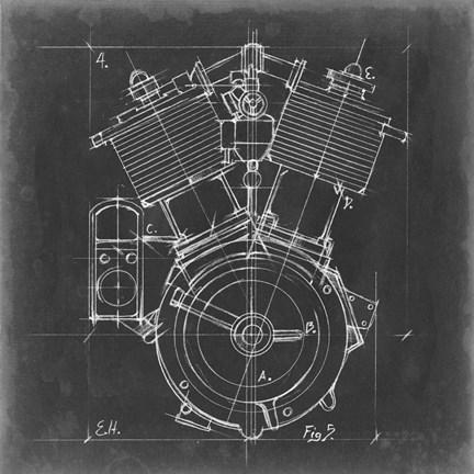 Motorcycle engine blueprint iv art by ethan harper at framedart framed motorcycle engine blueprint iv print malvernweather Gallery