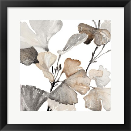 Framed Neutral Ginko Stems II Print