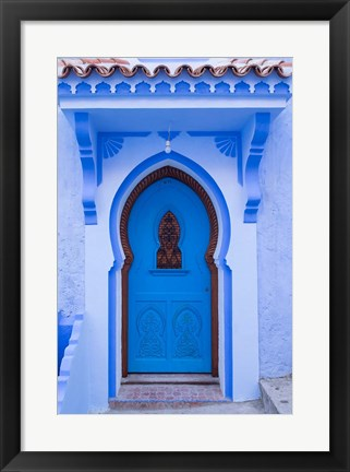 Framed Morocco, Chefchaouen A Traditional Door Print