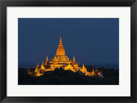 Framed Myanmar, Bagan A Giant Stupa Is Lit At Night On The Plains Of Bagan Print