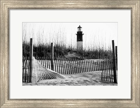 Framed Tybee Island Lighthouse, Savannah, Georgia (BW) Print