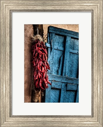 Framed Hanging Chili Peppers, New Mexico Print