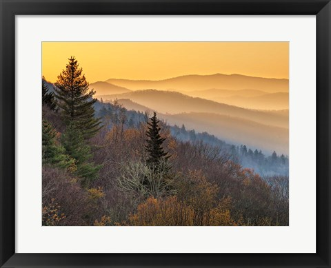Framed Sunrise From The Oconaluftee Valley Overlook, North Carolina Print