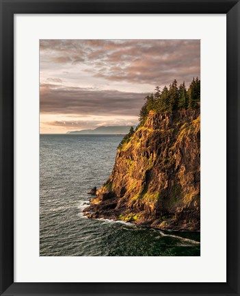 Framed Cape Meares State Park At Sunset, Oregon Print