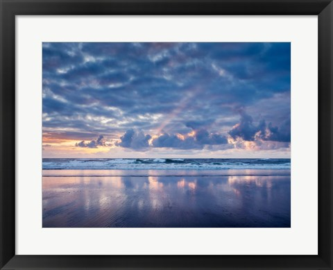 Framed Sunset From North Jetty Beach, Oregon Print