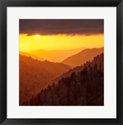 Framed Sunset Light Fills Valley Of The Great Smoky Mountains Print