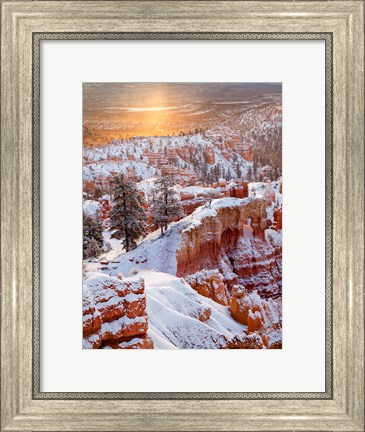 Framed Sunrise Point After Fresh Snowfall At Bryce Canyon National Park Print