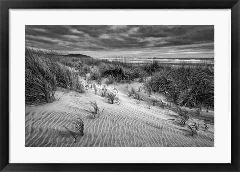 Framed Long Beach, Washington (BW) Print