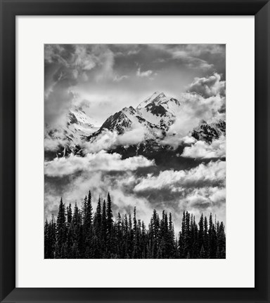 Framed Mount Carrie And Carrie Glacier, Washington (BW) Print