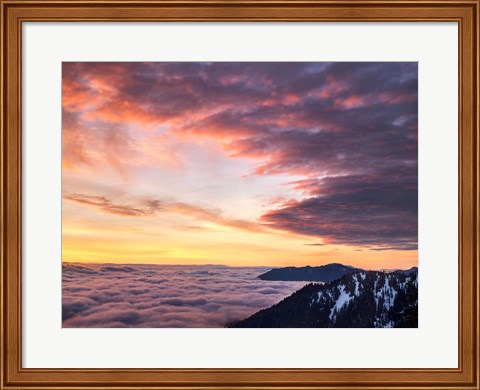 Framed Dawn On Hurricane Ridge Road, Washington Print