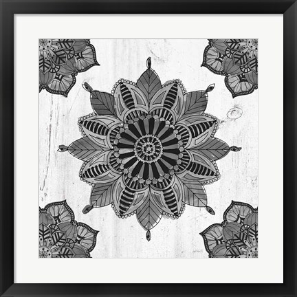 Framed Mandala Morning VI BW Print