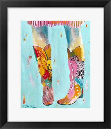 Framed Cowgirl Boots Print