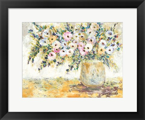 Framed Bowlful of Roses Print