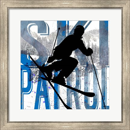 Framed Extreme Skier Word Collage Patrol Print