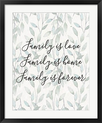 Framed Family Is Love - Leaves Print