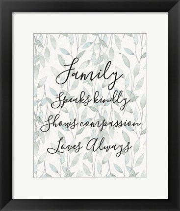 Framed Family Speaks Kindly - Leaves Print