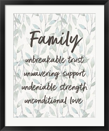 Framed Family Unbreakable Trust - Leaves Print