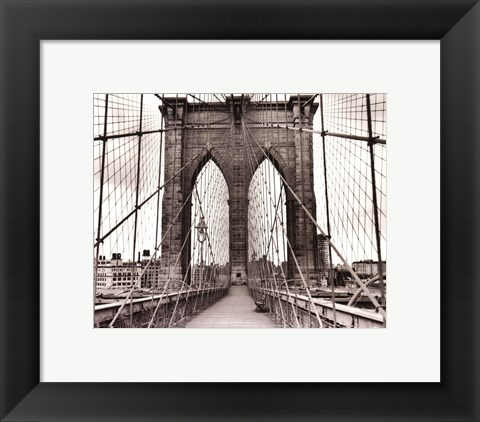 Framed Brooklyn Bridge - sepia Print