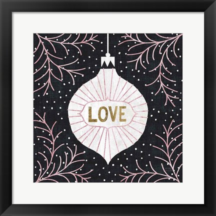 Framed Jolly Holiday Ornaments Love Metallic Print