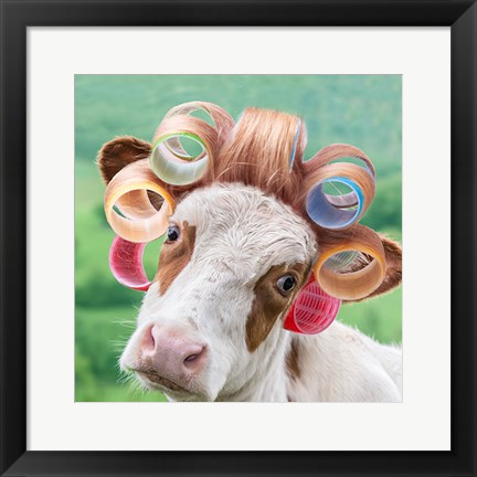 Framed Cow in Curlers Print
