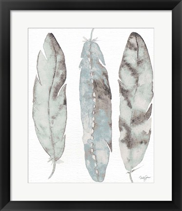 Framed Three Blue Feathers Print
