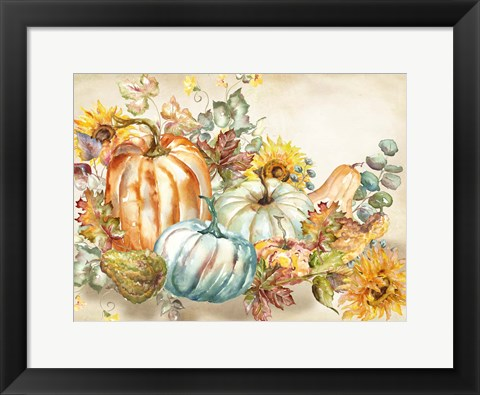 Framed Watercolor Harvest Pumpkin landscape Print