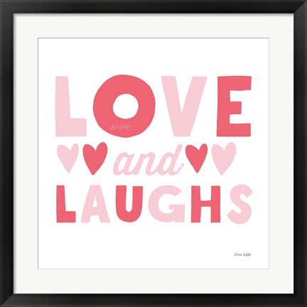 Framed Love and Laughs Pink Print