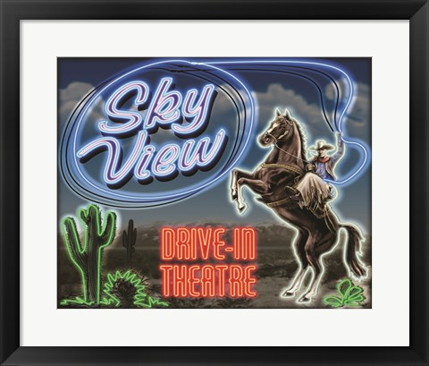 Framed Skyview Drive In III Print