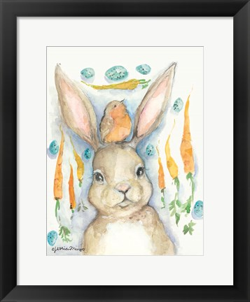 Framed Rabbits and Carrots Oh My Print