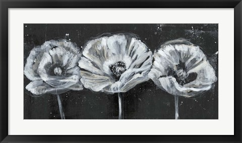 Framed White Trio on Black II Print