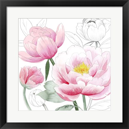 Framed May Peonies I Print