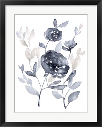 Framed Peonies in Grey II Print