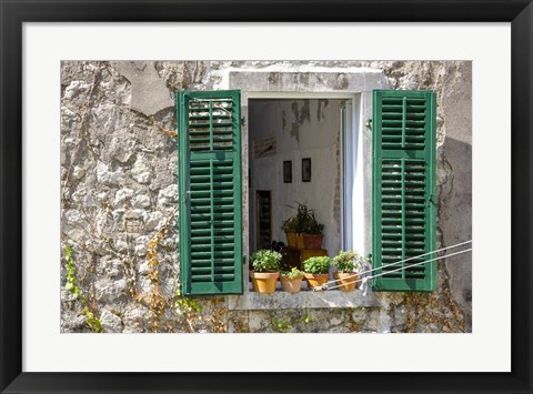 Framed Window View - Kotor, Montenegro Print