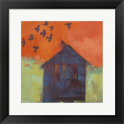 Framed Bird Barn II Print