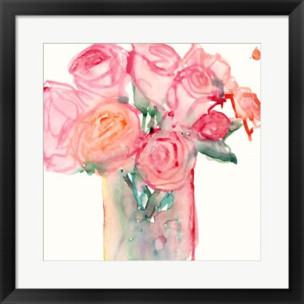 Framed Cottage Roses II Print