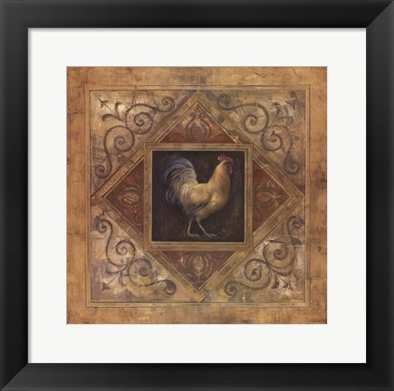 Framed Classic Rooster I Print