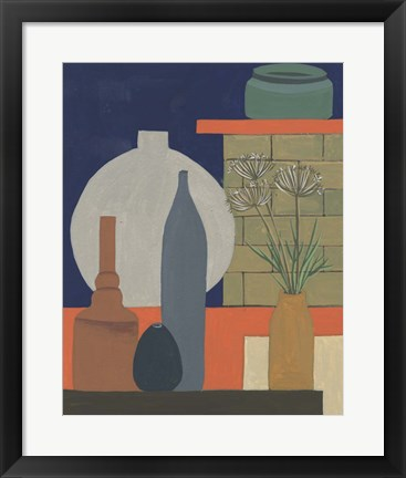 Framed Vases on a Shelf IV Print