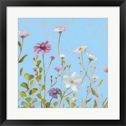 Framed Wild Flowers on Cerulean II Print