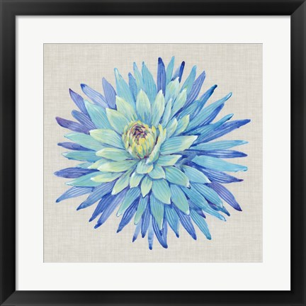 Framed Floral Portrait on Linen I Print