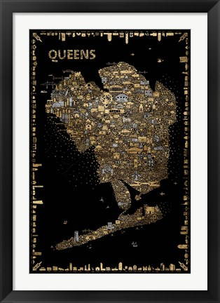 Framed Glam New York Collection-Queens Print