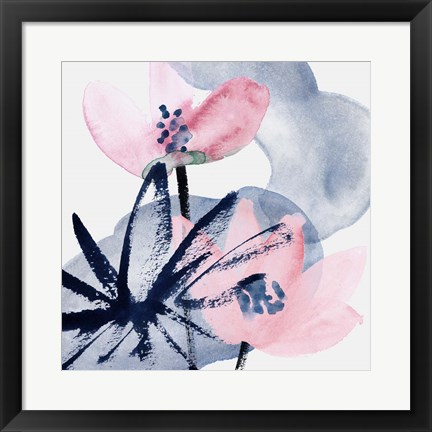 Framed Pink Water Lilies I Print